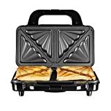 Tower T27013 Deep Fill Sandwich Maker with Extra Deep and Easy to Clean Non-Stick Ceramic Plates, Automatic Temperature Control, 900 W, Silver/Black