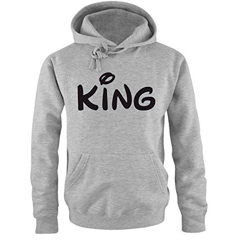Comedy Shirts - KING - Comic - Herren Hoodie - Grau / Schwarz Gr. XXL