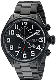 Akribos XXIV Men's Chronograph Multifunction Watch - With Date Window On Stainless Steel Bracelet Watch - AK853 (B0145FY40C) | Amazon price tracker / tracking, Amazon price history charts, Amazon price watches, Amazon price drop alerts