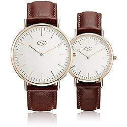 GEORGE · SMITH Classique Couples Montres-bracelets pour Couple Son et Hers Watch Set avec Marron en cuir véritable bande 2 Pcs