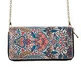 FENICAL Portefeuille Ethnic Floral Double Zipper épaule Sac à Main d'embrayage avec Sangle chaîne pour Les Femmes