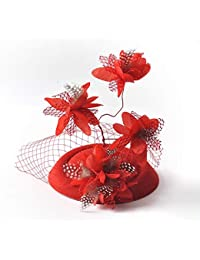 MNII Fascinadores Clip de Pelo Diadema Fortín Sombrero Flor de Plumas Velo Bowler Fiesta de Boda Sombrero de Cóctel,Red