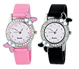 #8: Swadesi Stuff Exclusive Premium Quality Butterfly Pink & Black watch Combo of 2 watches for Girls & Women