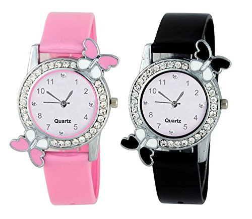 Swadesi Stuff Exclusive Premium Quality Butterfly Pink & Black watch Combo of 2 watches for Girls & Women