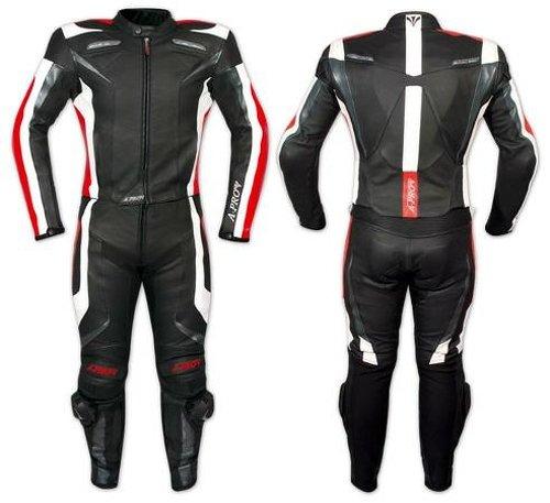 Tuta-Pelle-Moto-Racing-Pista-Sport-2-Pezzi-Divisibile-Prese-Aria-A-Pro-Rosso-56