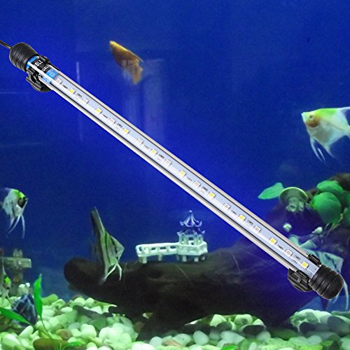 GEEDIAR® Lámpara Acuario Luces para Acuarios y Estanques 18 LED 4w 37cm 5050 SMD Tira Led Pasador de la EU Color Azul y Blanco