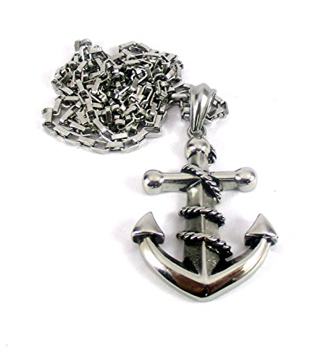 Streetsoul Anchor Pendant With Rope Antique Silver 30 Inch Link Chain Necklace Gift For Men.