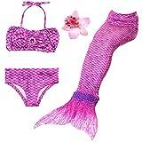 3 Pièces Maillot de Bain Princesse Queue de Sirène Mermaid Bikini(Il y a la Boucle au Bas de la Queue,Pouvez Ouvrir pour Marcher ou Fermer pour Ajouter Monopalme) (150(10-12 Ans), Violet)