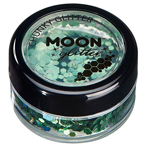 Paillettes holographiques rondes par Moon Glitter (Paillette Lune) - 100% de paillettes cosmétique pour le visage, le corps, les ongles, les cheveux et les lèvres - 3g - Vert
