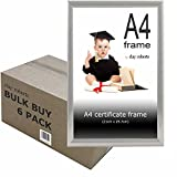 Clay Roberts Box of 6 A4 Silver Photo Frames, Picture Frames, Certificate Frames, Freestanding and Wall Mountable