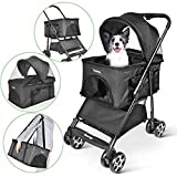 besrey Pet Stroller, 4 in 1 Pram Buggy Pushchair for Dog Cat
