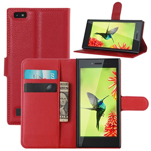 Blackberry Leap Hülle, HualuBro Premium PU Leder Leather Wallet HandyHülle Tasche Schutzhülle Flip Case Cover mit Karten Slot für Blackberry Leap Smartphone - Rot