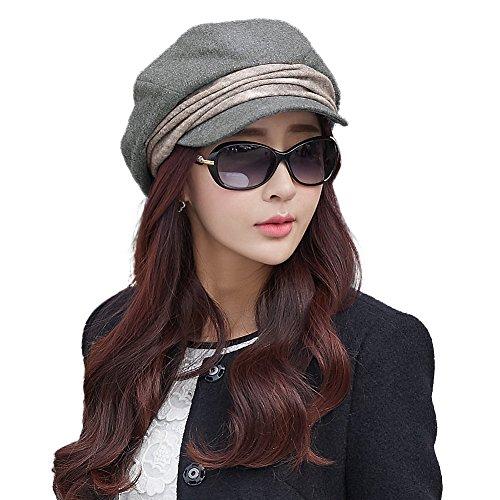 SIGGI warme Baumwolle graue Barett Mütze Zeitungsjunge Mütze Cabbie(Chauffeurmütze) Für Damen Mit Visor Baskenmütze Schirmmütze