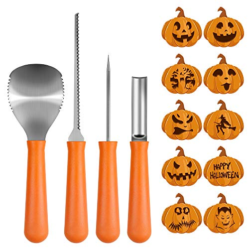Halloween Pumpkin Carving Kit, BIG HOUSE Professional Jack-O-Lanterns Stainless Steel Carving Tools Set with 10Pcs Carving Templates, Scraper, Saw, Drill and Etching(4 Pieces, Yellow)