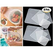 8 Stück Wiederverwendbare Frischhaltefolie Elastische Silicone Cover