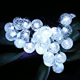 Noza Tec Solar String Light - 30 LED Crystal Ball String Fairy Lighting, Waterproof for Outdoor Use in Patio, Pathway, Garden, Indoor Use in Party, Bedroom Decor (Cool White)