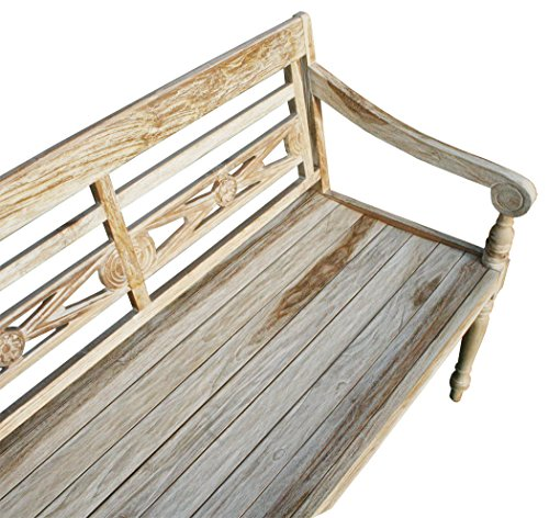"KMH®, Teak 2-sitzer Gartenbank ""Harry"" (115 cm) im Shabby Chic Stil – whitewashed (#102142) - 2"