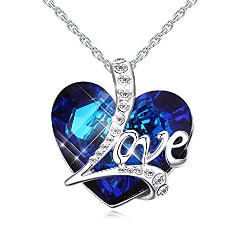 FANSING Jewellery Engraved I LOVE YOU TO THE MOON AND BACK Heart Of the Ocean Crystal 1.1
