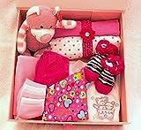 Baby Shower New Baby Babyausstattung Keep Sake Geschenk-Set in Hot Pink