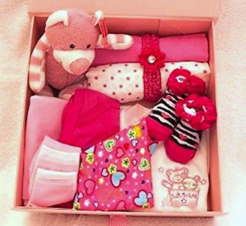 66c5db5919b9e Nouveau bébé layette – Keep sake Ensemble cadeau en rose vif – 0–3 mois