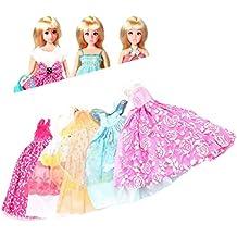 5 pezzi fatti a mano principessa abiti abito abiti 10 scarpe per bambola Barbie (colore: multicolor)