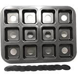 Haneez® Silicon Muffin, Cupcake, Cheesecake Tray for Oven, Microwave with Removable Base - 12 Cavities, Non Stick Coated