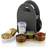 Atman Stainless Steel 3 Container & 1 Caserolles Set with Plastic Bottle Lunch Box Tiffin Set with Bag for Office | Grey