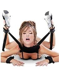 Juego con cuerdas de fetichismo para usar en la cama, con almohadillas suaves en los tobillos y esposas; accesorios para juegos de parejas –color negro