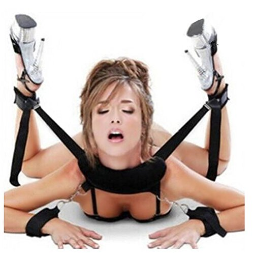 Fetish Bed Bondage Restraint Soft Pillow Ankle Cuffs Manuels pour les jeux de couples - Noir