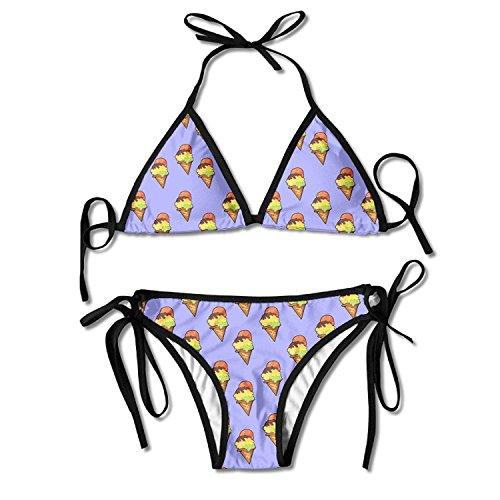 BIBIKINIS Women's Beautiful Tile Design of Ice Cream Sexy Bikini Swimsuit Bathing Suits - Sexy Ice Cream