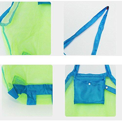 Xmdz Kids Beach Toy bag in rete grande rete portaoggetti pieghevole organizzatore borsone Sand away blu Blue L Blue