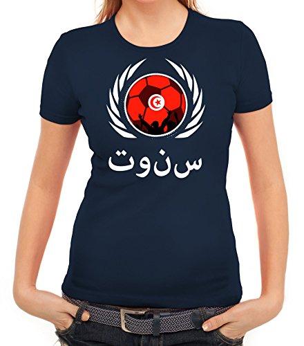 ShirtStreet Tunisia Wappen Soccer Fussball WM Fanfest Gruppen Fan Wappen Damen T-Shirt Fußball Tunesien Dunkelblau