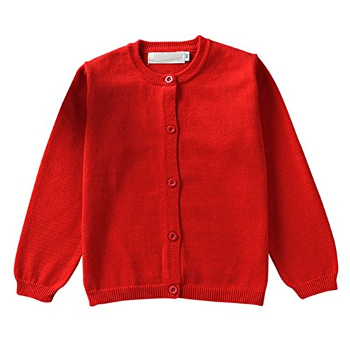 Brightup Spring and Autumn Cotton Baby Kids Sweater Knitted Cardigan Long Sleeve Jacket, Red, 12-18 Months
