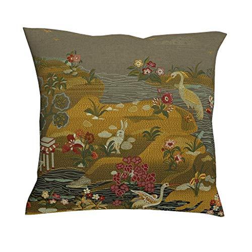 Chanpin - Fundas de cojín con diseño de Flores y Animales, Multicolor, con Cremallera, para decoración...