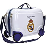 RM Real Madrid White Trolley Rigido Cavalcabile da Viaggio con Quattro Ruote