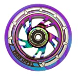Single Team Dogz Rainbow Neochrome Alloy Core 110mm Stunt Scooter Wheel With Mixed PU and ABEC11 Bearings (Rainbow Core, Blue/Purple PU)