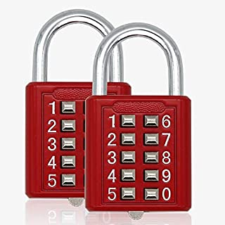 2pcs MIONI Guard Security 10 Digit Push Button Combination Padlock, 5 Digit Locking Mechanism, red