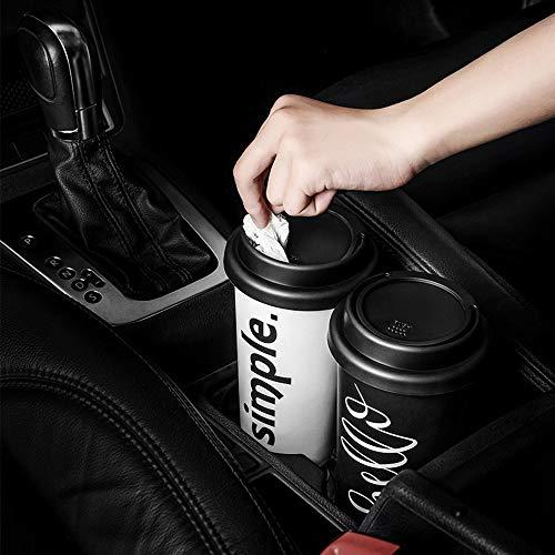Gaddrt Mülleimer Mini Auto Mülleimer mit Deckel Müll Staub Bin Storage Barrel Passt Cup Holder 9.5 x 9.5 x 17.2cm (Weiß)
