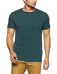 Tommy Hilfiger Mens Striped T-Shirt (A7ATK188_Pacific / Black Iris Htr_L)