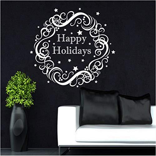 53 * 57 Cm Neu Weihnachten Wandtattoos Kranz Happy Holiday Aufkleber Dekoration Hause Tür Fenster Kunst Decor Wandaufkleber ()
