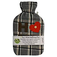 "UMOI Eco Hot Water Bottle 2 litres Natural Rubber with Removable High-Quality Fleece Cover""Home with Heart"" with Velcro BS1970:2012 Certified"