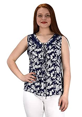Peach Couture Women's Two Tone Floral Rose Print Laced Neck Line Top Blouse Shirt Small Navy