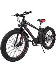 aceshin Vélo Electrique Adulte Mixte 300w 36V 10AH Rapide Shimano 6 Vitesse Chargé 120KG Vélo Neige VTT 26
