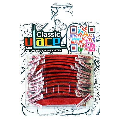 U-LACE - CLASSIC Lacets élastiques multicolores de 7 à 77 ans Adultes Enfants (SCARLET)