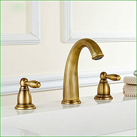 SAEJJ-Basin Taps Antique European style double handle triple cold and hot water basin basin Bathroom Taps