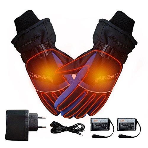 Guanti riscaldati a batterie ricaricabili, invernali, per sci, ciclismo, moto, per uomo o donna, blue,l