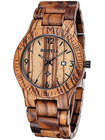 Alienwork Quarz Armbanduhr massive Naturholz Uhr Herren Uhren Damen handgefertigt Zebraholz Holz braun UM086B-02