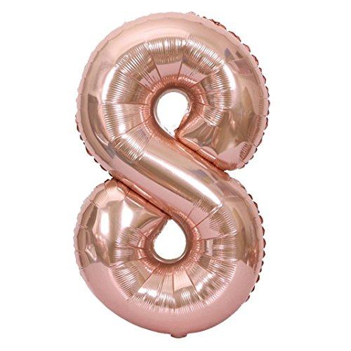 40 Zoll Nummer 0-9 Folie Digital Balloons für Geburtstagsparty Hochzeitstag;Party Dekoration, Valentinstag,Vatertag Dekoration,Abschlussball.Hochzeit Baby Shower Geburtstag Dekoration (8, Balloons)
