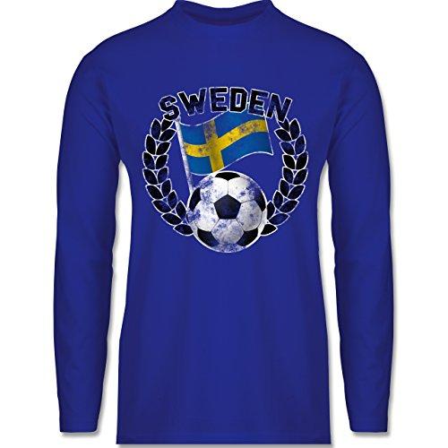 Shirtracer Fußball-WM 2018 - Russland - Sweden Flagge & Fußball Vintage - Herren Langarmshirt Royalblau