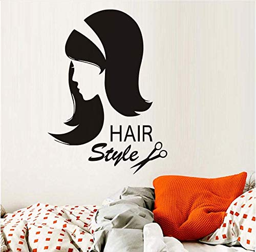 QThxqa friseurAufkleber Dekoration Vinyl Schere Sex Mädchen Haarschnitt Interieur Friseur Abnehmbare SchönheitssalonDecal59 * 43Cm